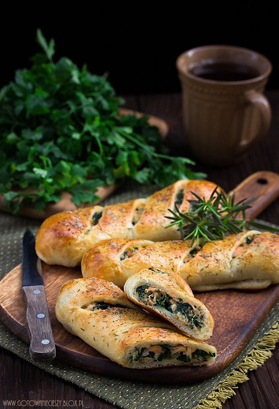 Stromboli with Salmon, Spinach and Mozzarella