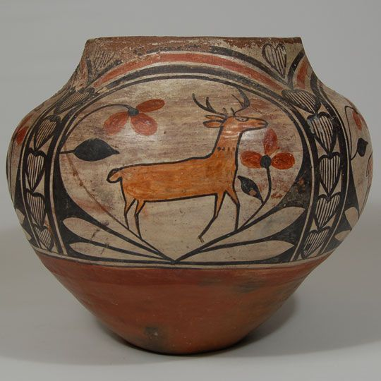Pueblo Indian Pottery | Four-color Polychrome Olla from Zia Pueblo