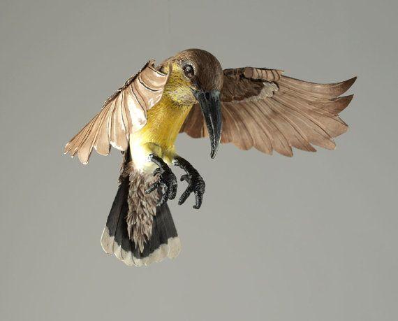 Paper and epoxy Female Purple Sunbird by NIHARIKAWILDLIFEART