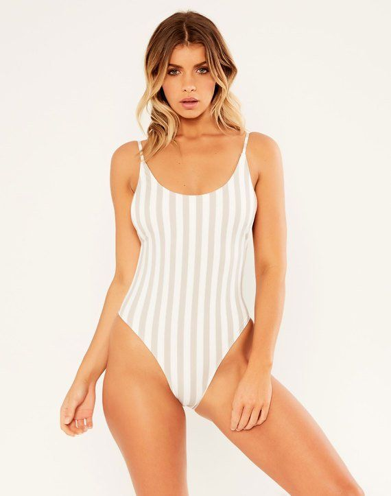 Striped One Piece Cloud/white
