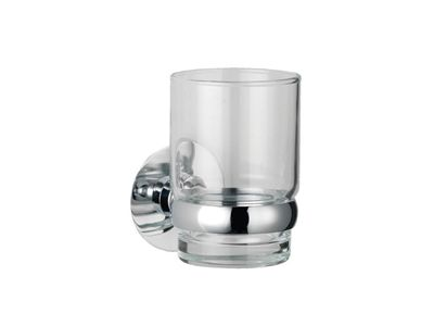 July Glass tumbler with holder    Features:    Polished chrome  Durability  No visible fixings