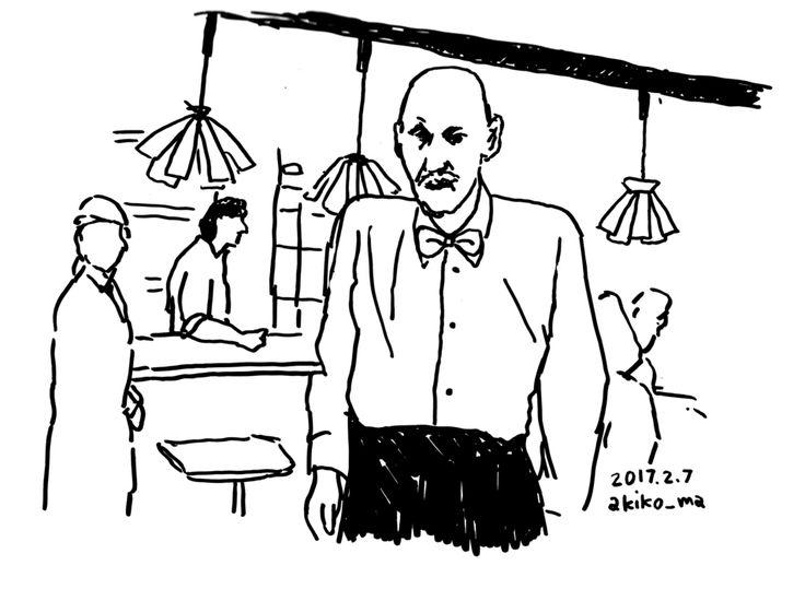 #ツインピークス クーパー捜査官がピンチの時にふっと現れるおじいさんホテルのボーイにしては高齢謎を解明する際に現れる巨人と入れ替わることもある変な説明ですがこれは観ないとわからないかも#morningdraw #akikomaegawa #illustration #monochrome #前川明子 #イラスト #線画 #白黒 #イラストレーション #twinpeaks #davidlynch #デヴィッドリンチ #朝活 #showtime #フェルトペン #bar #oldman