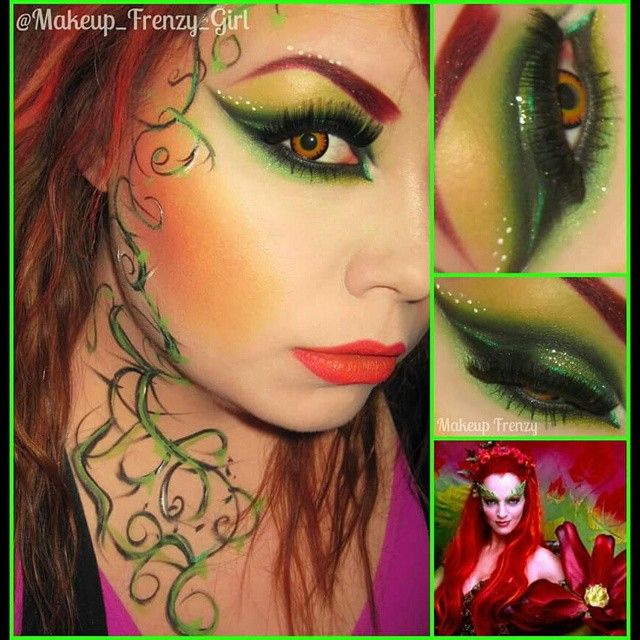 "Makeup Frenzy  on Instagram: ""Poison Ivy inspired for a collab ! Wish I had more time to spend on it, but I was tired at this point lol! Used @eyesbright #contacts in…"""