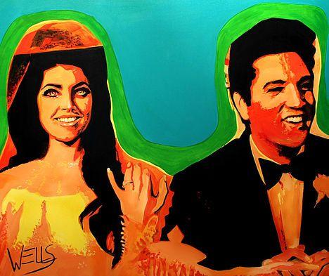 Love Me Tender art by Stacey Wells. Elvis Prestley and Priscilla Prestley on their Honeymoon at Elvis' Honeymoon Hideaway in Palm Springs. Original art by Stacey Wells