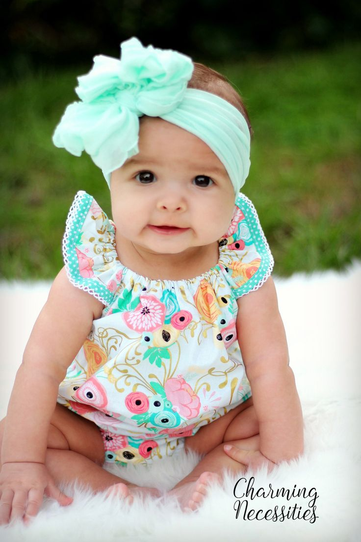 Mint Floral Bubble Baby Girl First Easter Outfit, Spring