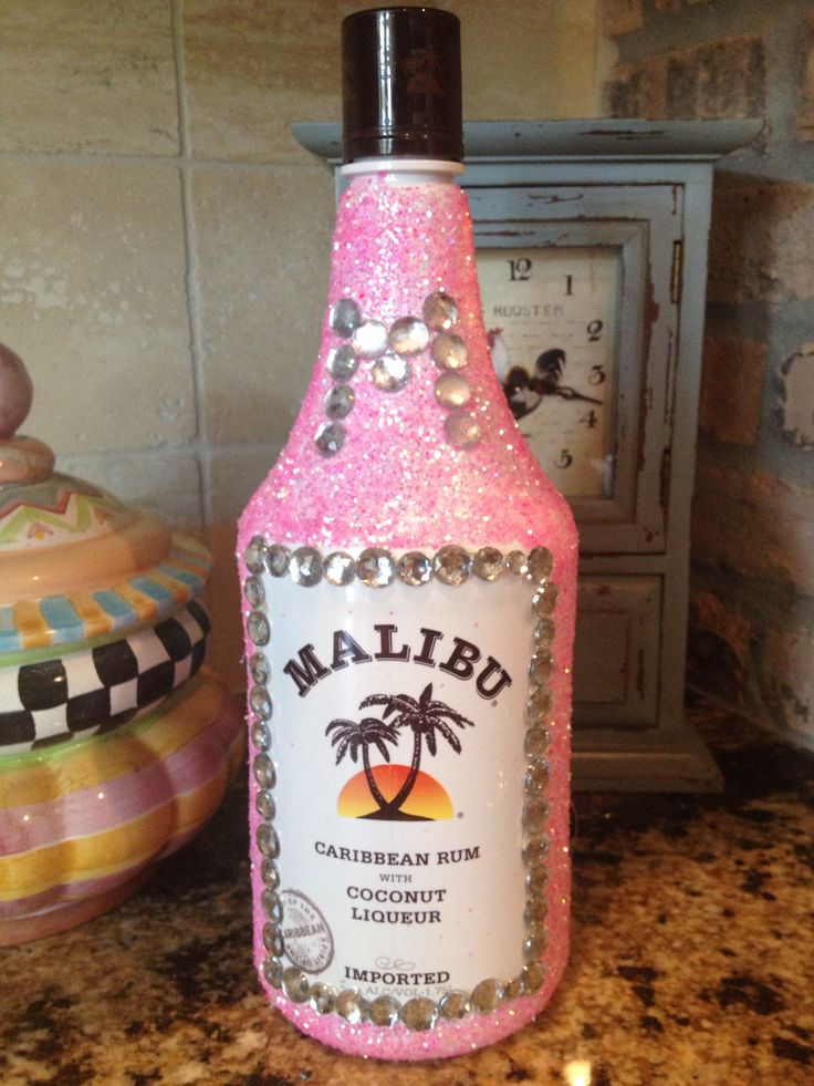 Glitter Malibu bottle for birthday