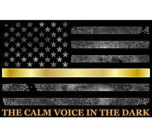 The Calm Voice in the Dark - The Thin Gold Line mugs, shirts, and more for the 911 dispatcher available at Redbubble.