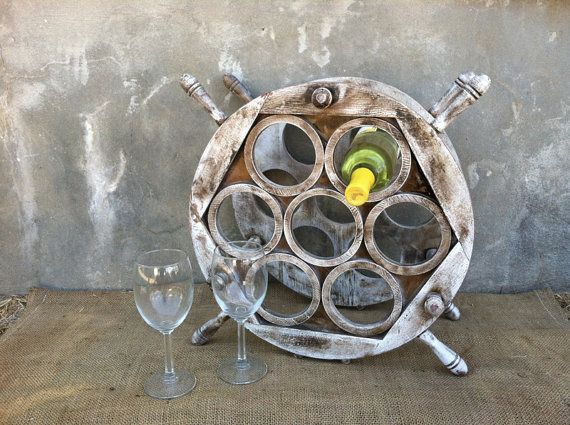 Vintage Wine Rack Upcycled Ships Wheel Bottle Holder