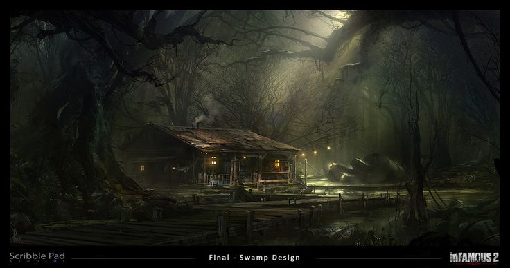 Infamous 2 - Swamp Design Final, James Paick on ArtStation at https://www.artstation.com/artwork/infamous-2-swamp-design-final