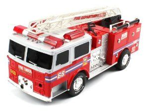 """Super Express Fire Electric RC Truck RTR w/ Extending Crane by Velocity Toys. $39.95. Features:  Ready to Run, Straight Out the Box  Electric Powered (Rechargeable). High Gloss Fire Engine Red Paint Job  Chrome Wheels with Race Master Tires. Full Function! (Go Forward and Backward, Turn Left and Right)  Flashing Emergency Sirens!  Built In Extending Crane. Length: 12.5""""   Width: 5""""  Height: 6.5"""". Requires 6 Rechargeable AA Batteries (Included)  Remote Control requ..."""