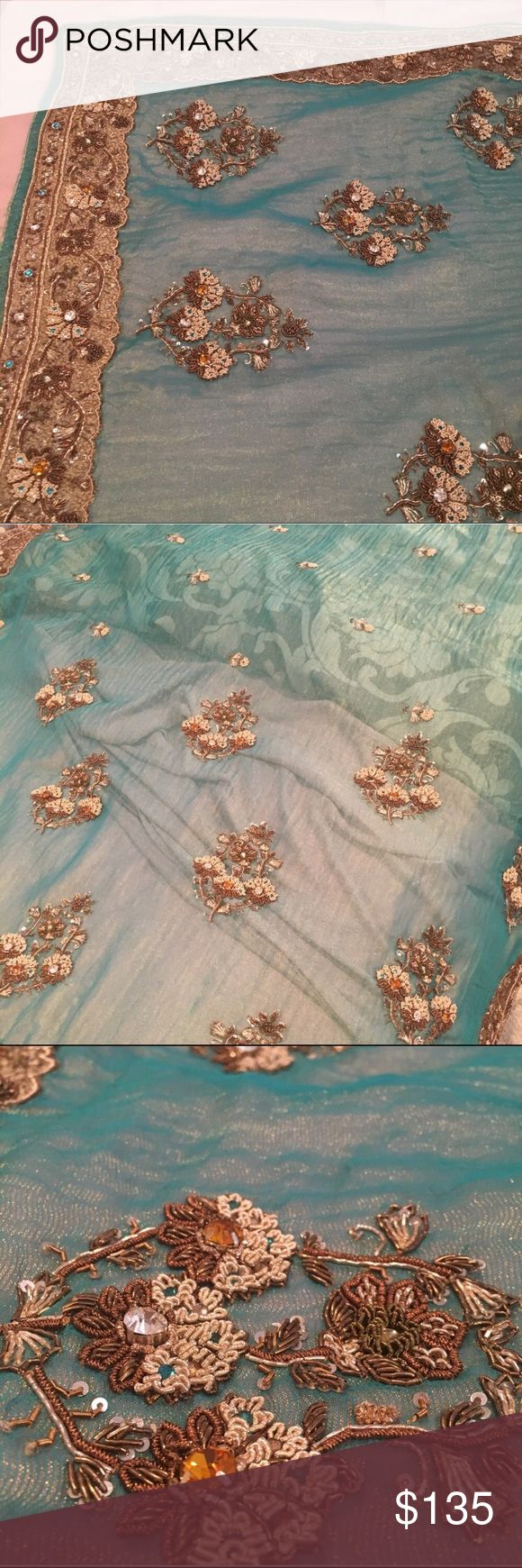 Bollywood Desi Saree Sari Bronze Teal Seagreen Iridescent and gorgeous! Worn only twice. Heavy work excellent quality. Some wear on edges - not easily seen. Very pretty overall! Bronze thread work and metal work. Saree only no blouse. Dresses