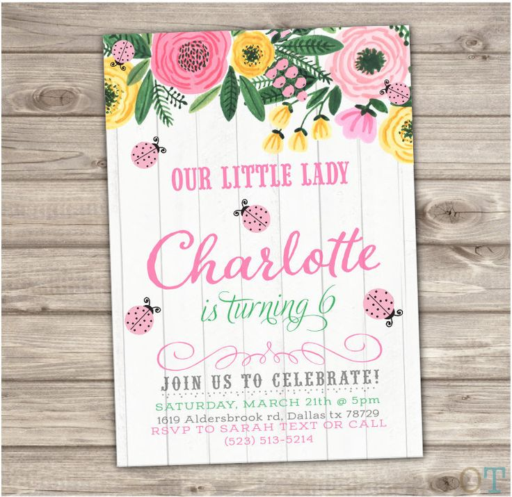 Printable Pink Ladybug Birthday Invitations Vintage Wood Flowers 2nd Birthday Gold 3rd Cute Printable girl First Birthday Download Lady Bug by cardmint on Etsy https://www.etsy.com/listing/226151107/printable-pink-ladybug-birthday