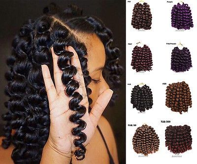 Details about 8inch Ombre Wand Curl Crochet Hair Extensions Havana Mambo Twist Braiding Hair