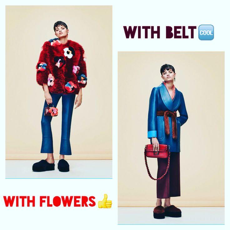 Which accessory  would you choose for your pants??! Our favorite is with flowers!!  Choose your favorite look!  Quel accessoire vous aimez plus? Les fleurs ou la ceinture?   Fendi Pre-fall 2016#voguerunway
