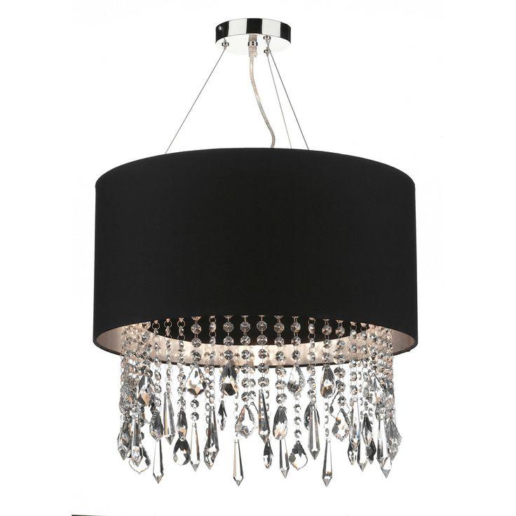 Buy Online - £225.00 http://www.oceanlighting.co.uk/ceiling-lighting-c1/dar-dar-liz0132-lizard-1-light-modern-ceiling-pendant-crystal-polished-chrome-black-and-silver-finish-p15913