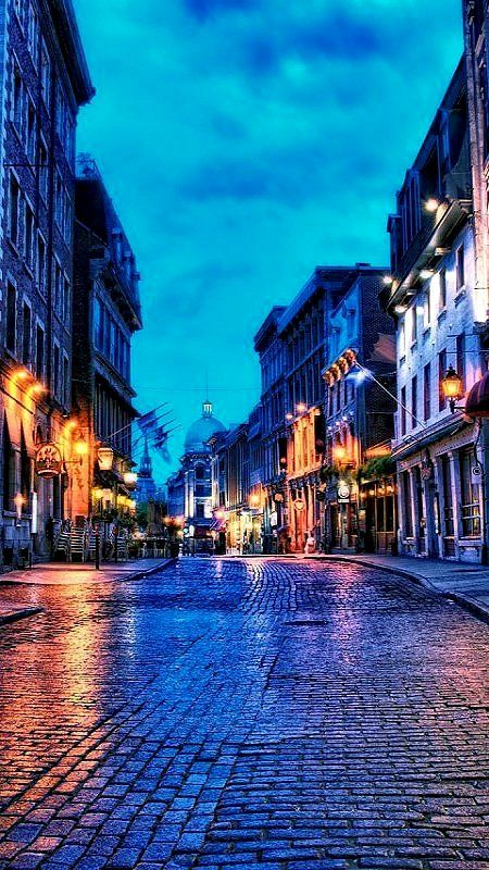Blue hour... in Old Montreal, Canada.