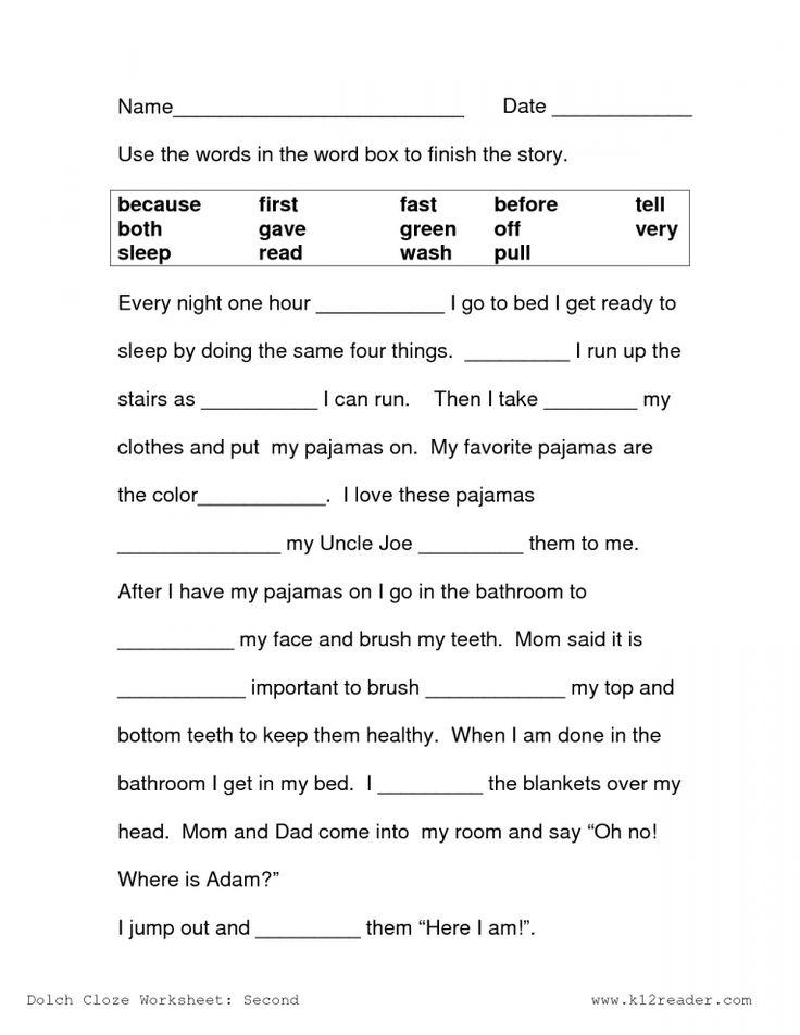 8+ 2Nd Grade Language Arts Cloze Worksheet   Grade   2nd ...