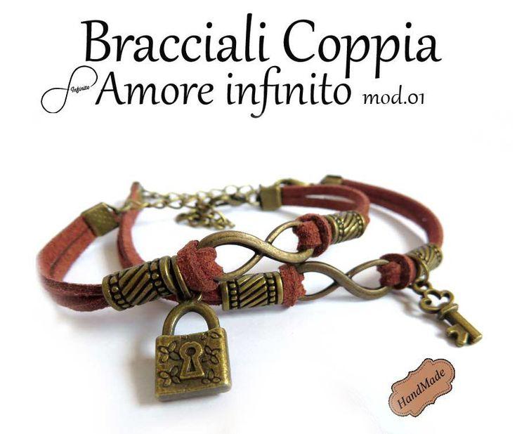 2 Bracciale AMORE infinito uomo donna simbolo infinity charm chiave braccialetto marrone, by «:::Mosquitonero Shop:::», 17,90€ su misshobby.com