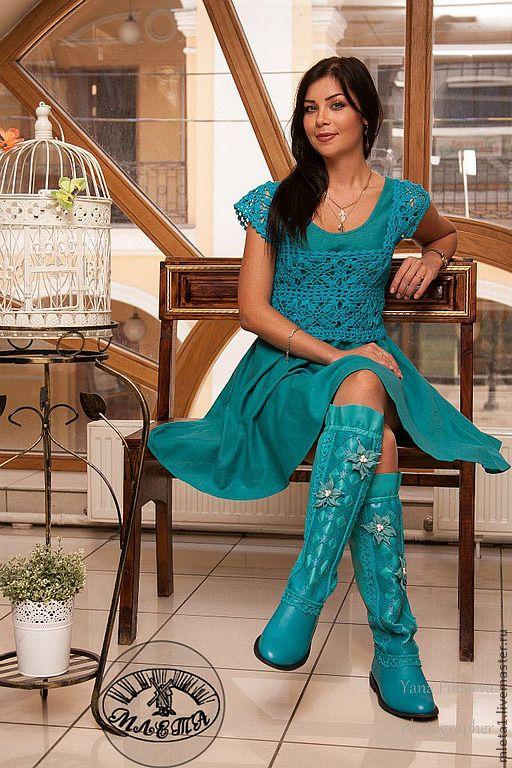 Купить сапоги кожаные с вязанием Жемчужная лагуна - бирюзовый, сапоги женские, летняя одежда