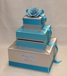 Silver and Turquoise Card Box Rhinestone accents