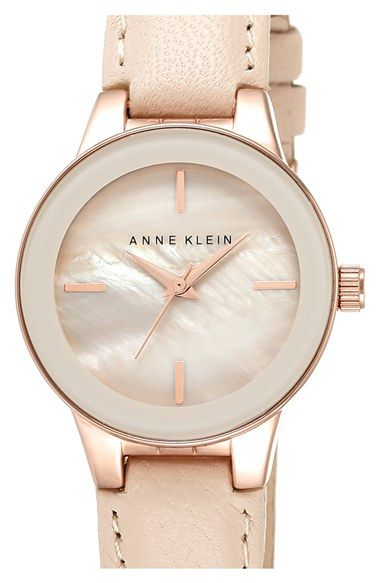 Anne+Klein+Round+Leather+Strap+Watch,+22mm+available+at+#Nordstrom