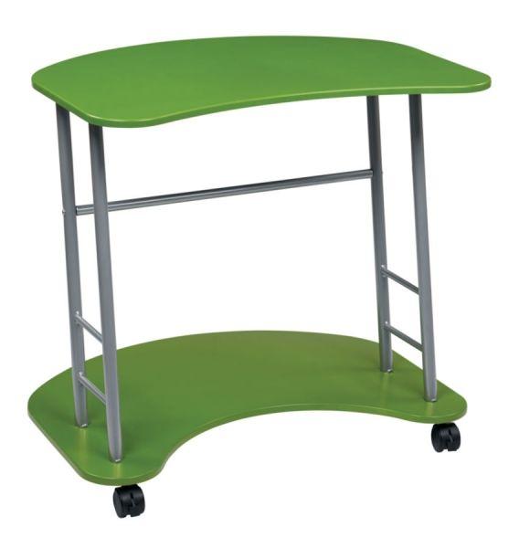 Kool Kolor Modern Apple Green Engineered Wood Steel Computer Cart