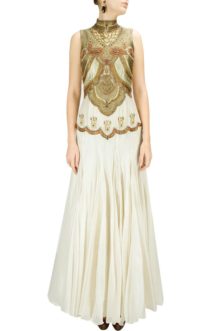 Off-white embroidered fish cut gown BY SAMANT CHAUHAN. shop now at http://www.perniaspopupshop.com/whats-new #designer #fashion #style #beautiful #newcollection #updates #perniaspopupshop #happyshopping