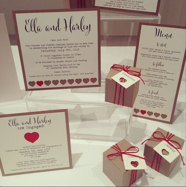 Looking for some modern vintage styling for your wedding? Look no further than our 'Krafty Hearts' range of wedding stationery! These adorable invites are made with recycled brown Kraft card and beautiful cream card. www.thepaperempire.com.au