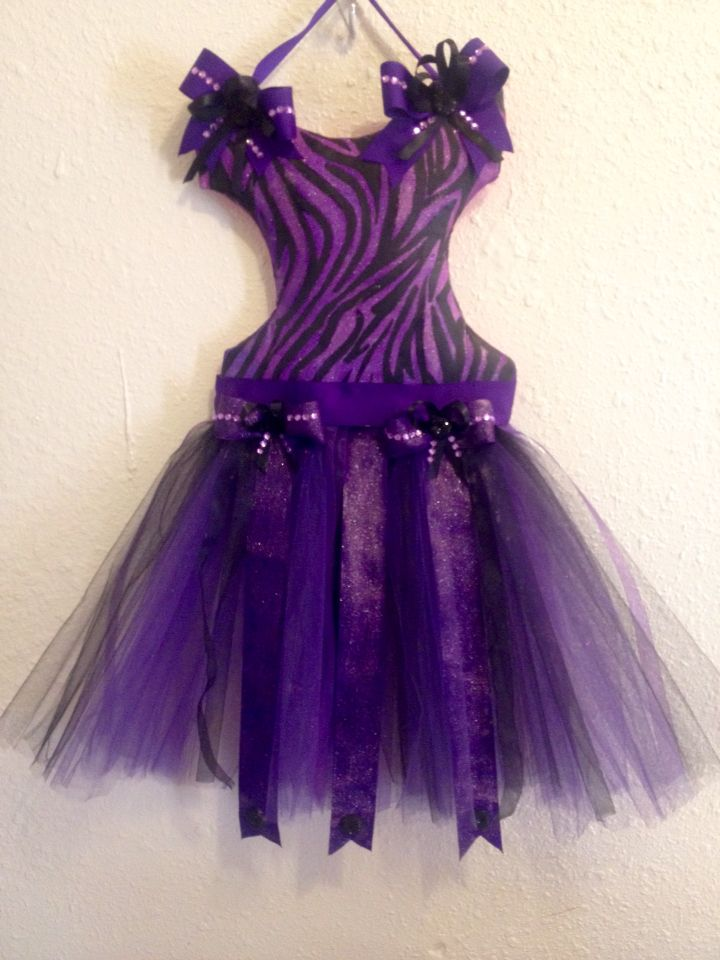 Purple and black zebra tutu bow hanger