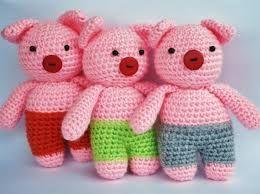 Risultati immagini per de tre små grisarna Amigurumi