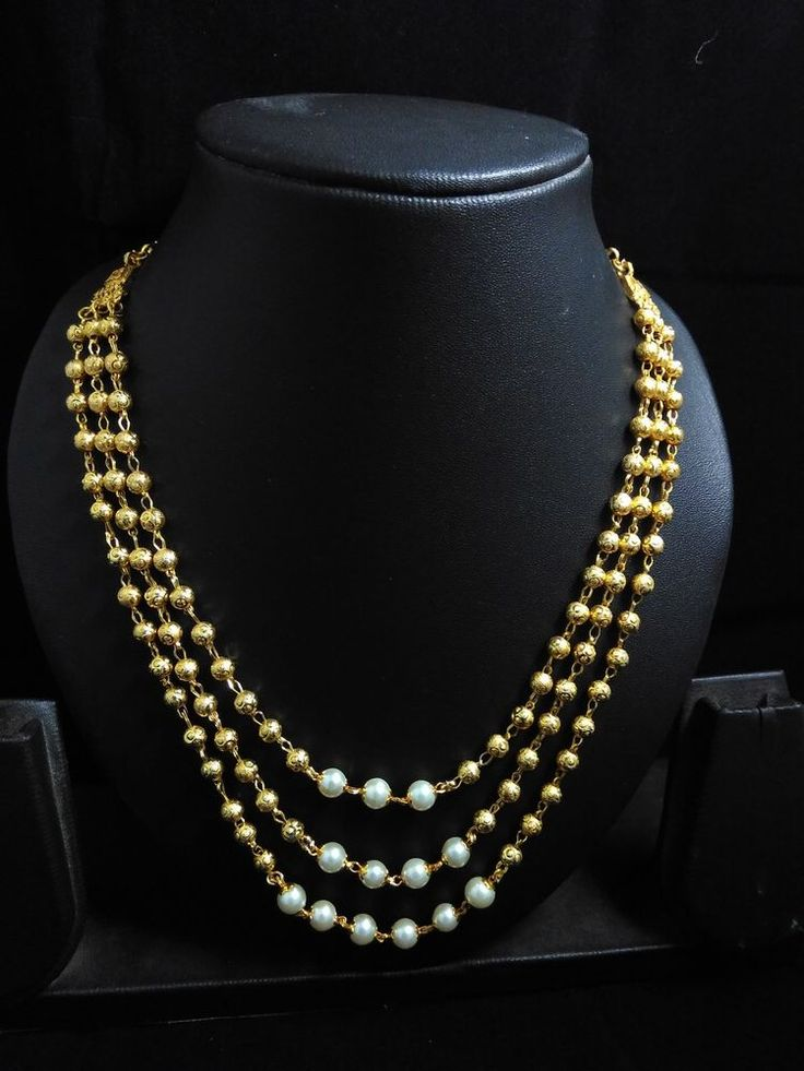 South Indian Traditional Jewellery 3 line chain pearl  necklace #panasshjewels