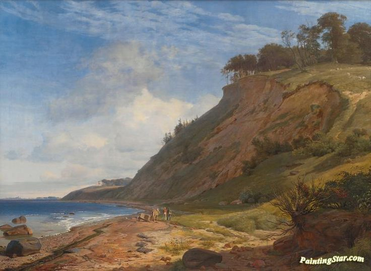 A danish coast. view from kitnas on roskilde fjord. zealand Artwork by Johan Thomas Lundbye Hand-painted and Art Prints on canvas for sale,you can custom the size and frame