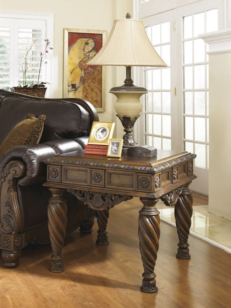 North Shore Traditional Dark Brown Wood Marble End Table