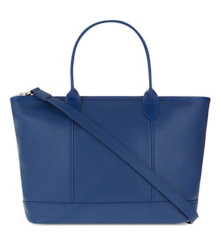 LONGCHAMP Le Foulonné leather tote. #longchamp #bags #shoulder bags #hand bags #denim #leather #tote #