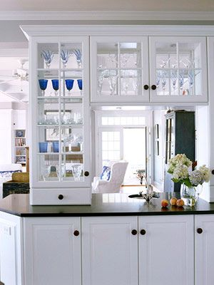 glass kitchen cabinets see through | Here's another view of the use of  clear glass see