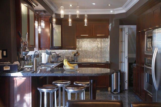 Tile mirror kitchen design table Chair lamps refrigerator modern banana idea