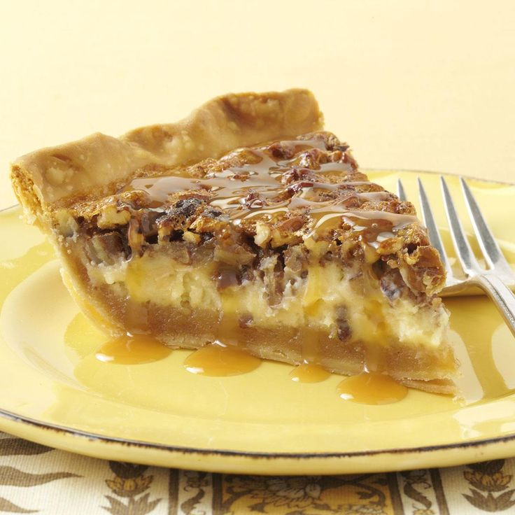 Caramel-Pecan Cheesecake Pie Recipe -In fall or any time of year, this nutty, rich and delicious pie is one I am proud to serve. While it seems very special, it's a snap to make. —Becky Ruff, Monona, Iowa