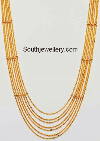22 carat gold seven lines light weight chandraharam. Weight: 33 grams Price: Rs. 1 Lakh approx