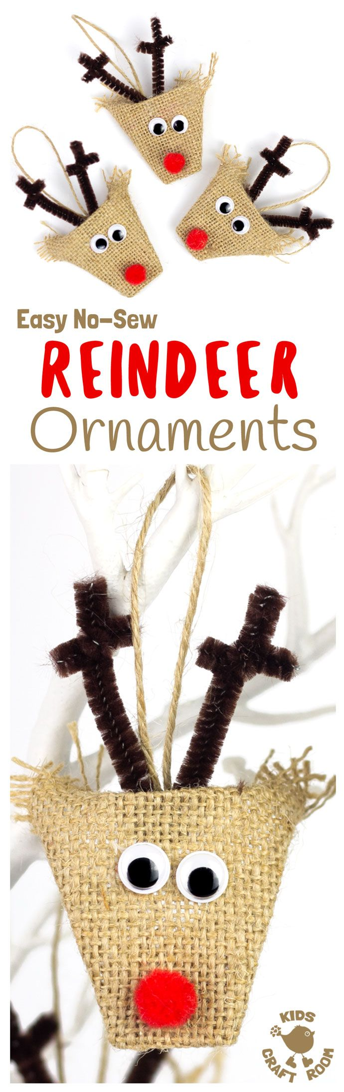 ADORABLE BURLAP REINDEER ORNAMENTS - a simple no-sew Christmas craft for kids. Homemade reindeer decorations look gorgeous on the Christmas tree or used as gift tags. Rustic burlap crafts are just perfect for Christmas. #Reindeer #ReindeerCrafts #Rudolf #RudolfCrafts #Christmas #ChristmasCrafts #ChristmasCraftsForKids #Burlap #BurlapCrafts #NoSewCrafts #Ornaments #ChristmasOrnaments #HomemadeOrnaments #DIYOrnaments #KidMadeChristmas #TreeDecorations via @KidsCraftRoom