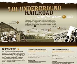 Interactive Underground Railroad online activity