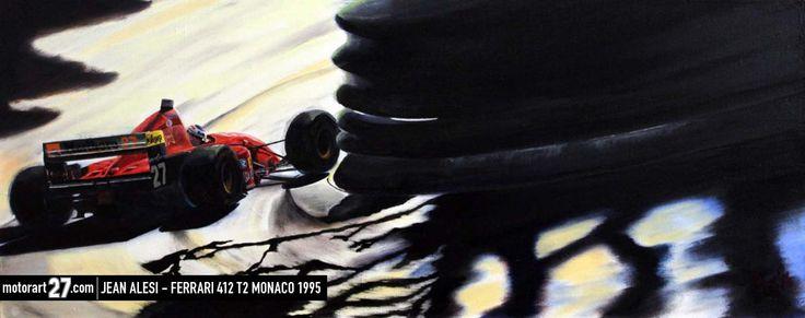 """Son Guerrier des Rues""  Jean Alesi in his 412 T2 Ferrari @ Monaco 1995 12x36"" oil on canvas.  ©Alex Wakefield - Motorart 27  #Ferrari #FerrariArt #Art #Carart #car #Formula1 #FormulaOne #Monaco #MonteCarlo #412T2 #V12 #Motorart27 #racing #autoart #auto #car #automotive #motorsport #grandprix #JeanAlesi #GerhardBerger #Tyrrell #Enzo #Ferrari #KenTyrrell #27 #Mirabeau #CasinoSquare #LaPiscine #SwimmingPool #Rascasse"