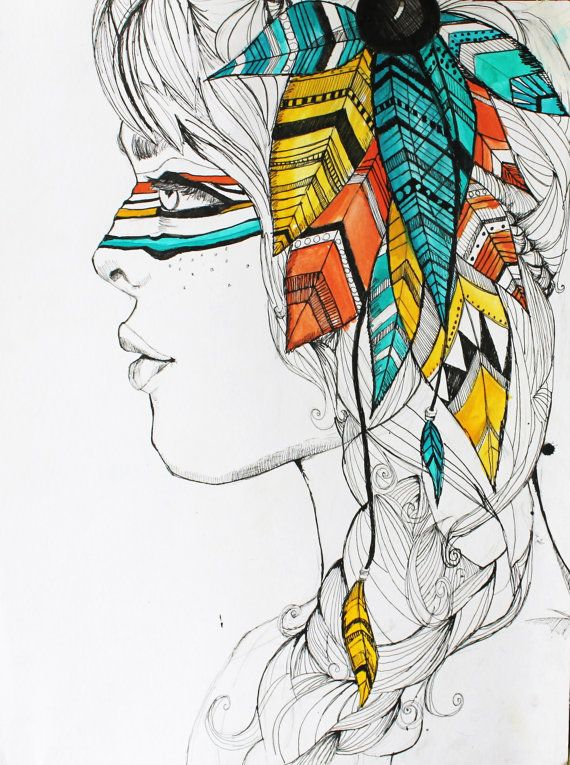 Indian Woman Ink and Watercolor Illustration by BifDesigns, $15.00