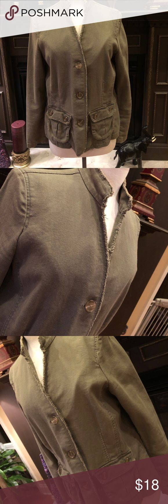 Old Navy army green jean jacket Very lightly worn. No holes or stains. In  perfect preowned condition. Army green in color. This material is a little stretchy Old Navy Jackets & Coats Jean Jackets