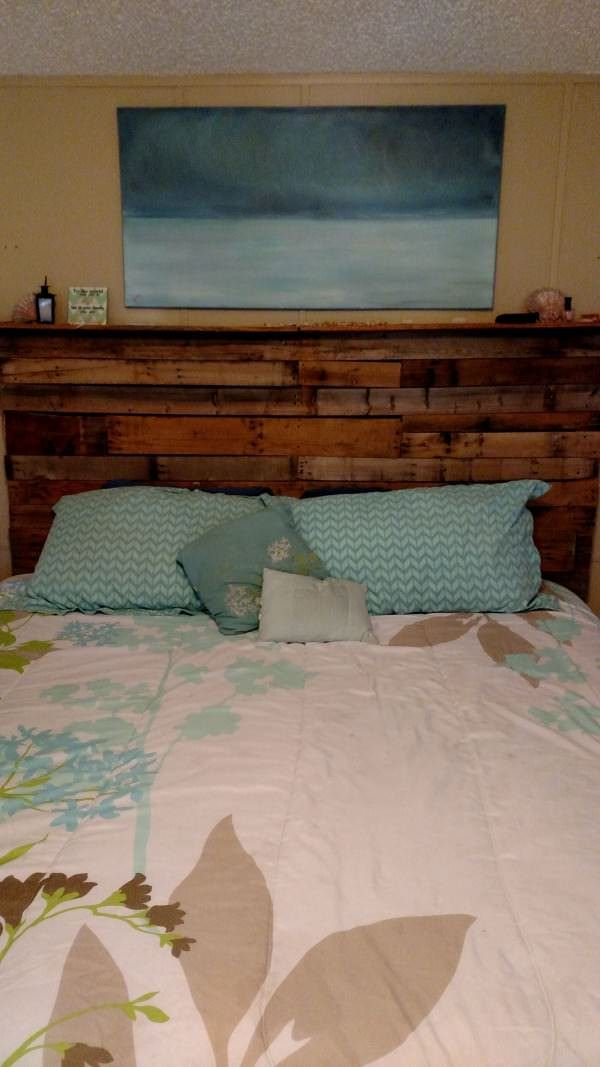 My 1st Pallet Project: Pallet Bed Headboard Made Out Of 3 Wooden Pallets Beds…