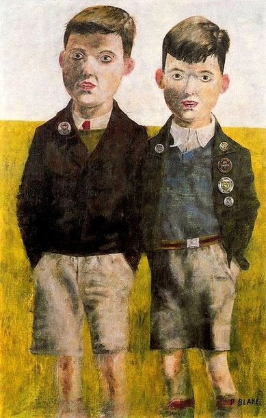 by Peter Blake, rough textures and dark, almost dingy colours, portrays the feeling of a childhood