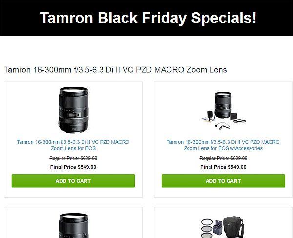 http://www.great-landscape-photography.com/tamron-black-friday-instant-rebates-now-live/  Deep discounts on Tamron lenses for Canon, Nikon and Sony A cameras here in this Black Friday Sale...