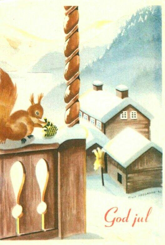 Julekort Milly Heegaard brukt 1942