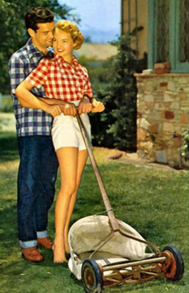 gingham gets the job done: 1950S Summer Fashion, Vintage 1950S Couple, Lawn Mower, Shorts Shorts, Engagement Pics, 1950 S, Yard Work, 1950S Fashion, Push Mower