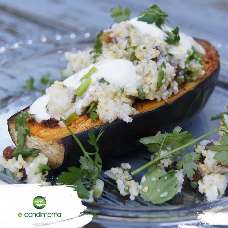 Aubergine baked with millet - party snack/Bakłażan pieczony z kaszą - przekąska na imprezę. #healthyfood #econdimenta #food #healthycooking