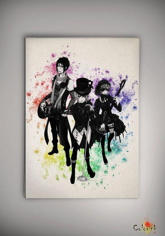 Wall Art Decor Posters : Black butler kuroshitsuji watercolor print
